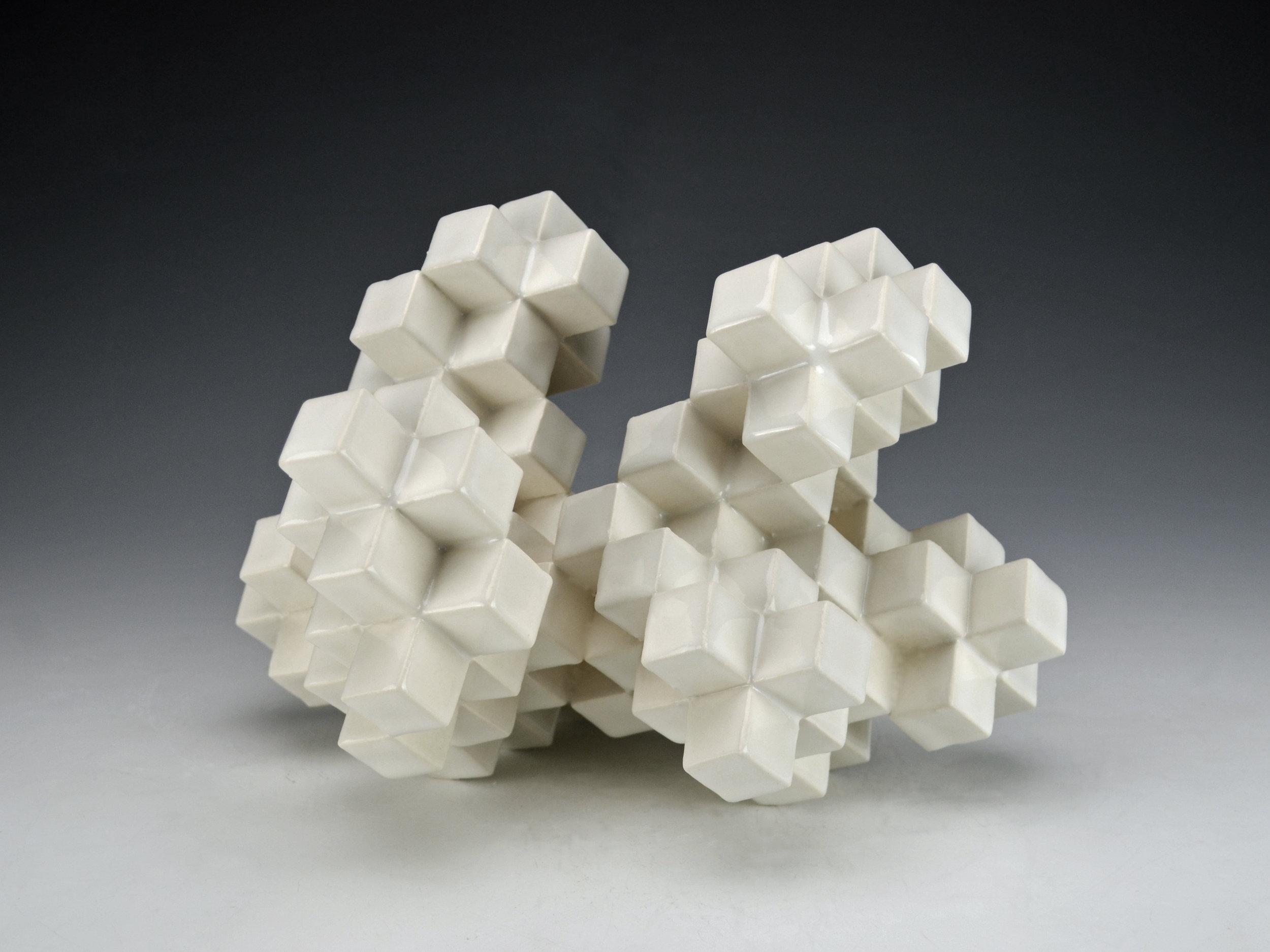 Cubic Series: Construction IV  |  9 x 8 x 8 inches  |  Porcelain, Glaze  |  2017