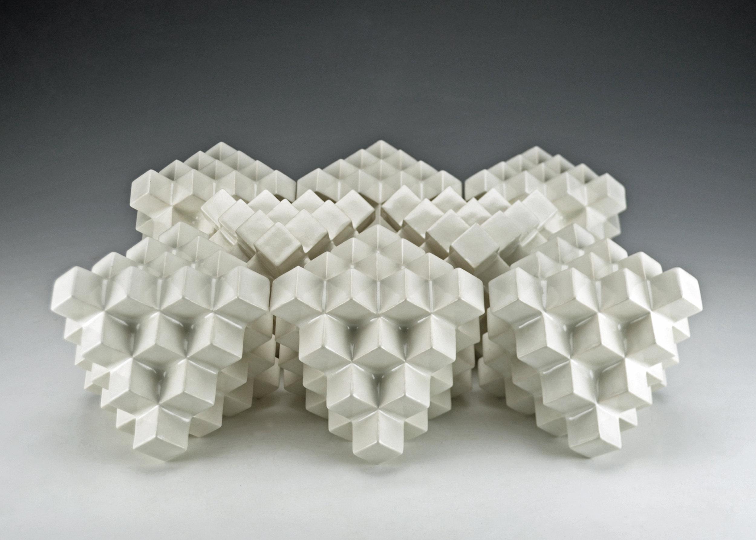 Cubic Series: Octahedrons  |  Each: 5 x 5 x 5 inches  |  Porcelain, Glaze  |  2017