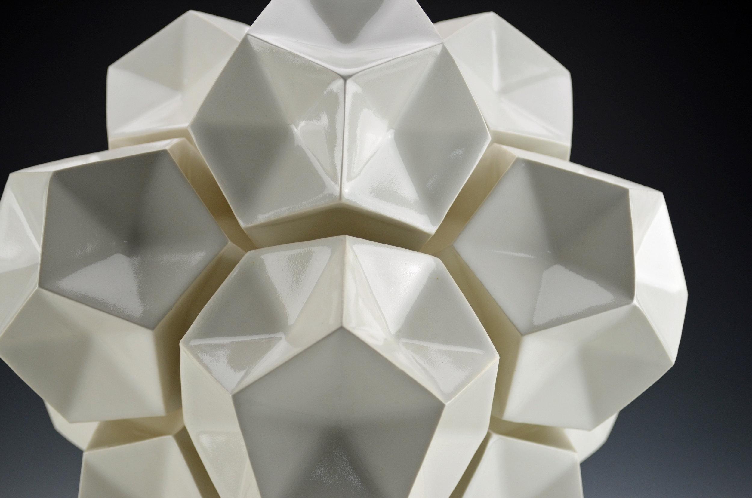 Dodecahedron Construction (White, Detail)  |  14 x 14 x 14 inches  |  Porcelain, Glaze  |  2017