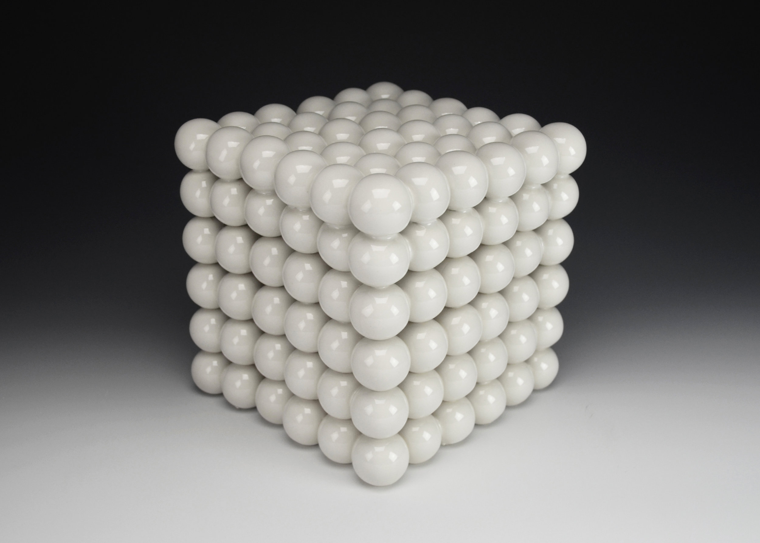 Ionic Series: Construction IX  |  8 x 8 x 8 inches  |  Porcelain, Glaze  |  2017