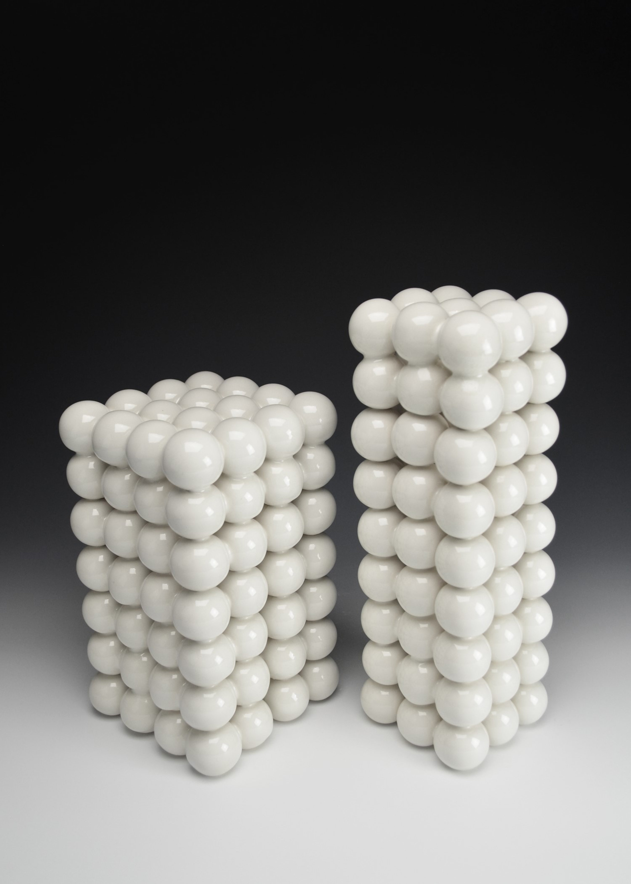 Ionic Series: Constructions VI & VII  |  Left:  9.5 x 5.5 x 5.5 inches, Right: 12 x 4 x 4 inches  |  Porcelain, Glaze  |  2017