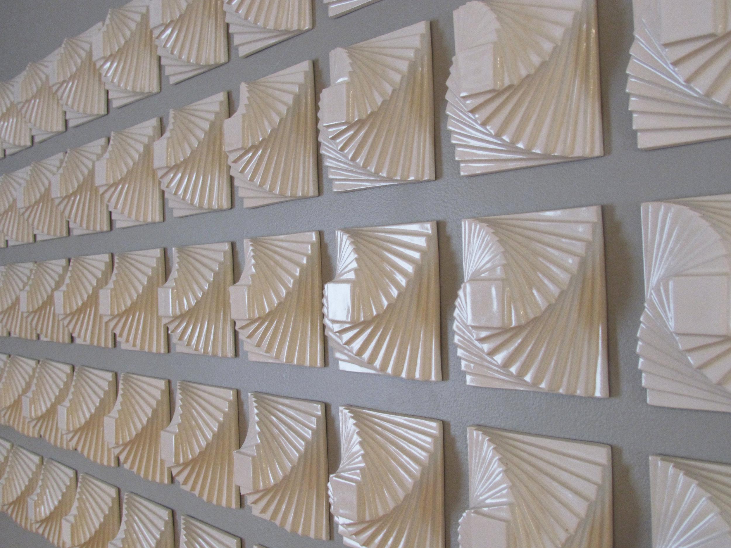Helix Tiles (Detail)  |  Each: 5.5 x 5.5 x 3 inches  |  Porcelain, Glaze  |  2017