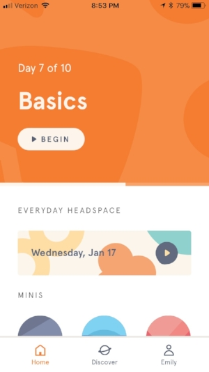 The Headspace home screen.