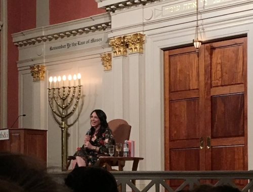 Mari Andrew speaking at Sixth & I Historic Synagogue in Washington, DC.