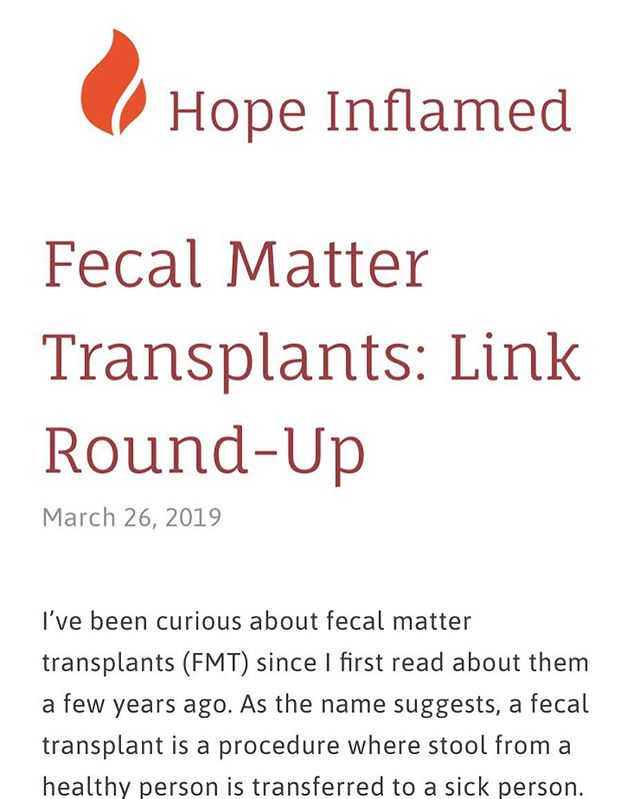 Want to learn more about fecal matter transplants? Check out my latest blog post. Link in bio. #ibd #ulcerativecolitis #fecaltransplant #hopeinflamed
