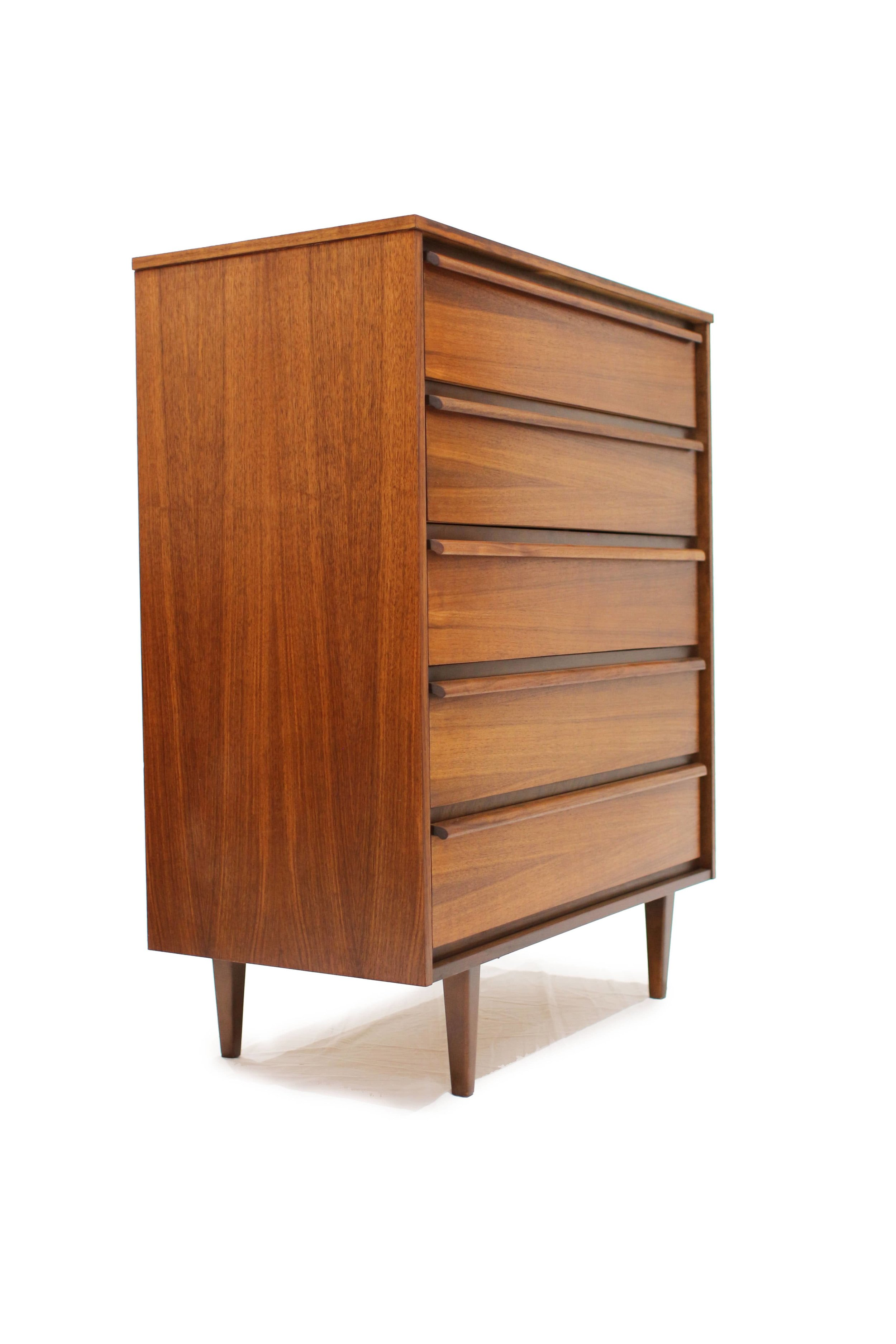Sold Walnut 5 Drawer High Boy Dresser Furniture 1950 Teak Mid Century Modern Furniture Oshawa Toronto