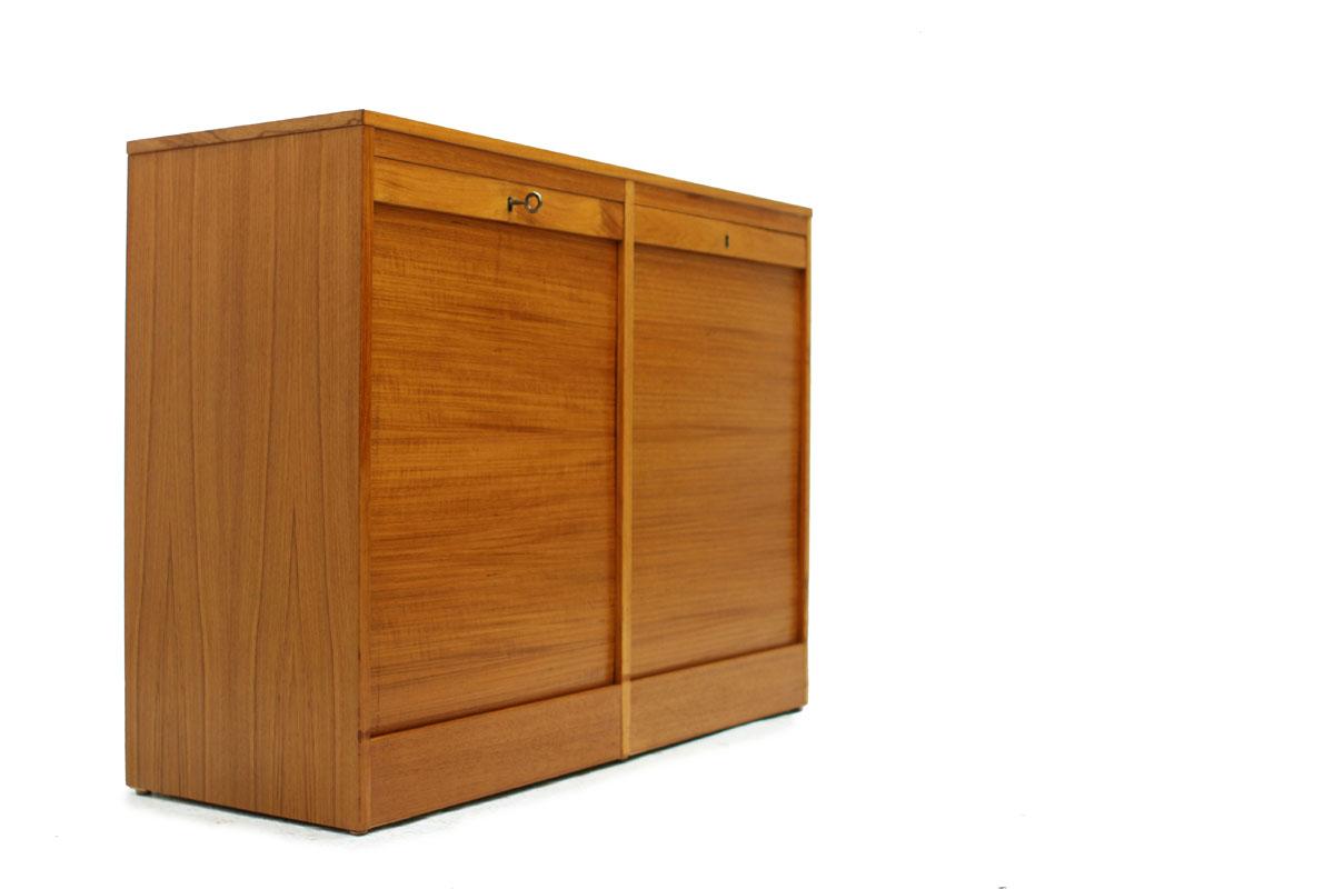 Mid-Century Modern Era Danish Teak Filing Cabinet with 2 Tambour Doors and 4 Drawers