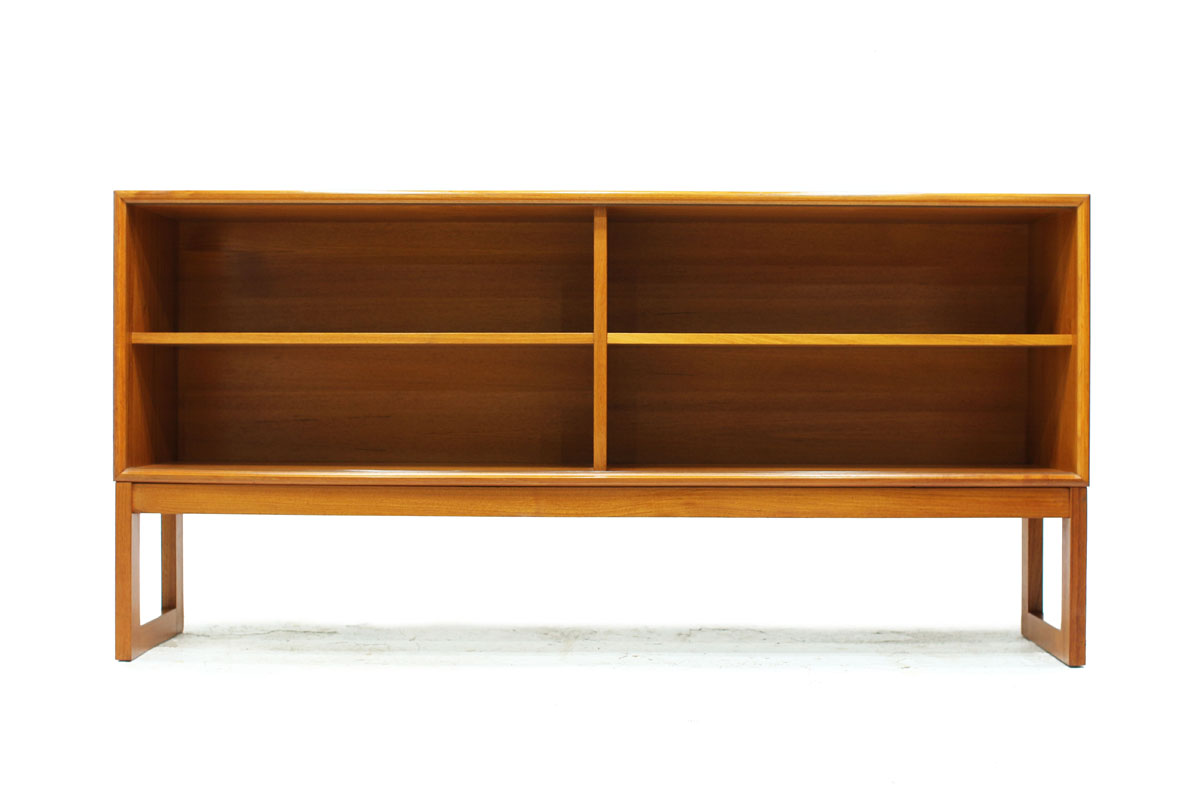 Danish Mid Century Modern Teak wood Book Shelf by Designer Gunni Omann Manufactured by ACO Mobler with Square Legs