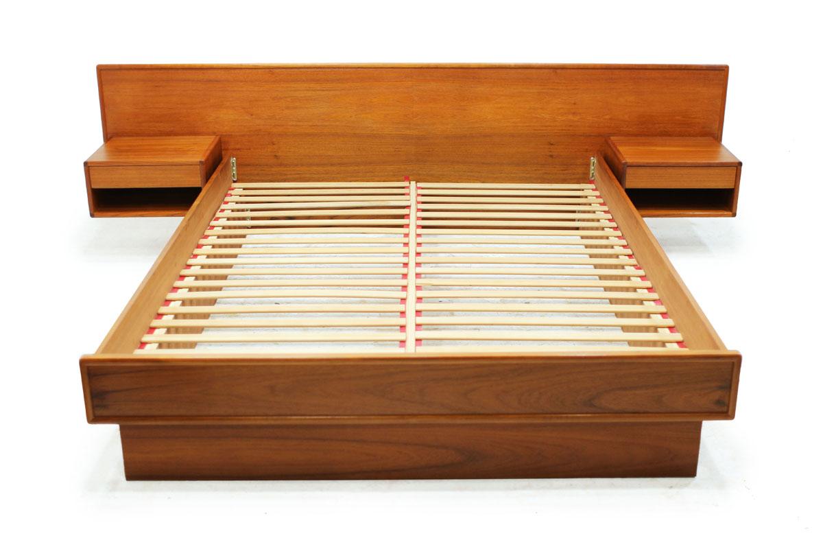 Mid Century Modern Danish Teak wood Queen Size Platform Slat Bed with 2 Single Drawer Nightstands Made in Denmark