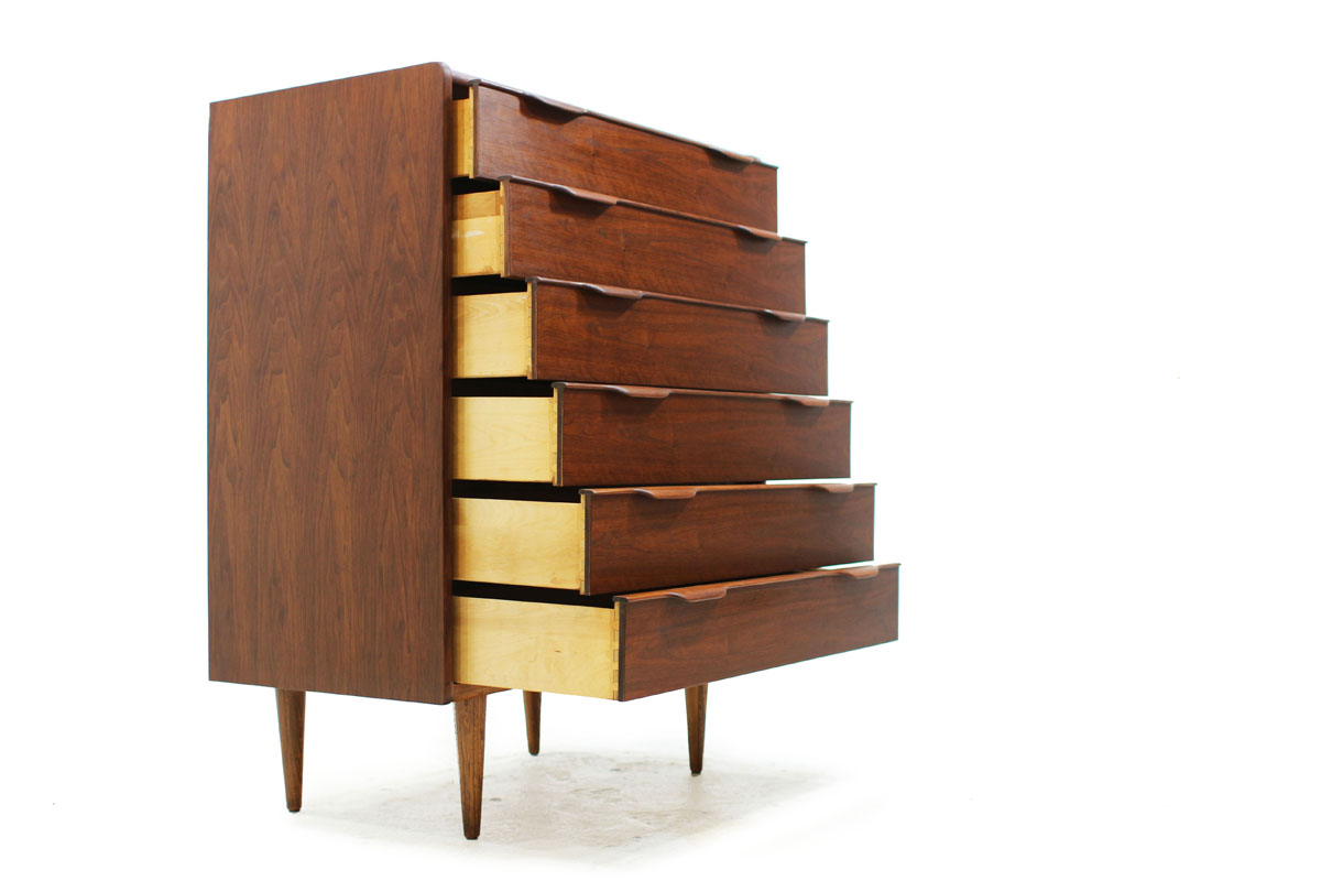 MCM Walnut Wood 6 Drawer Upright Tallboy Dresser with tapered legs and elegant pull handles