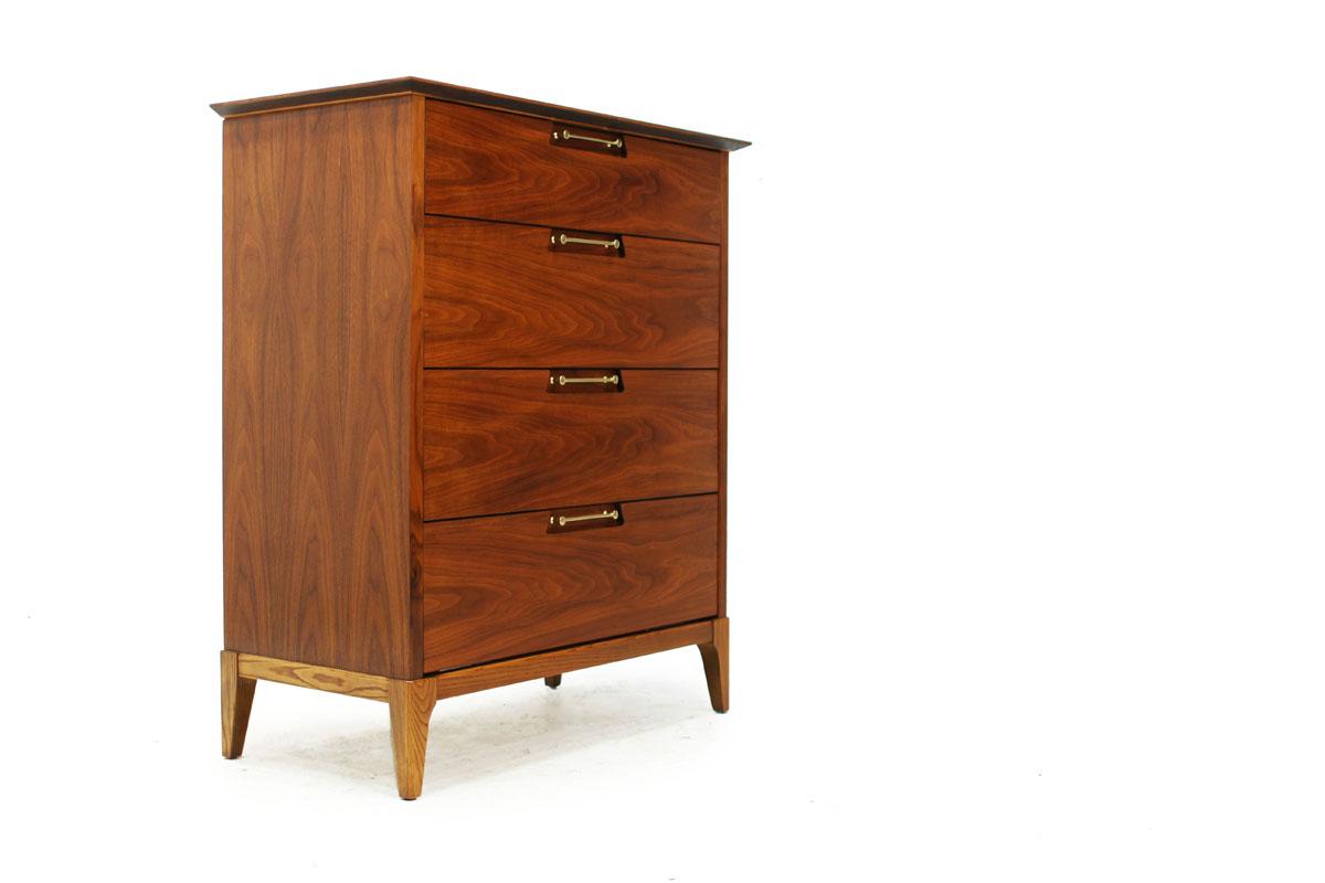 Mid-Century Modern Walnut Wood 4 Drawer Upright Tallboy Dresser with Beautiful Gold Handles