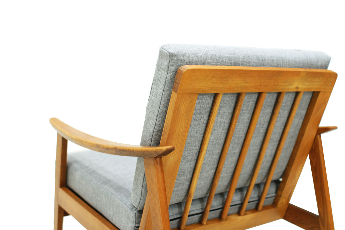 Mid Century Modern Danish solid wood frame Lounge Chair with sculpted armrests and Gray Cushions