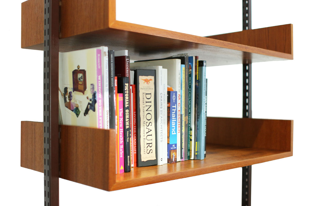 Reff Tension Pole MCM Adjustable Desk & Library Shelving unit with Storage box with door