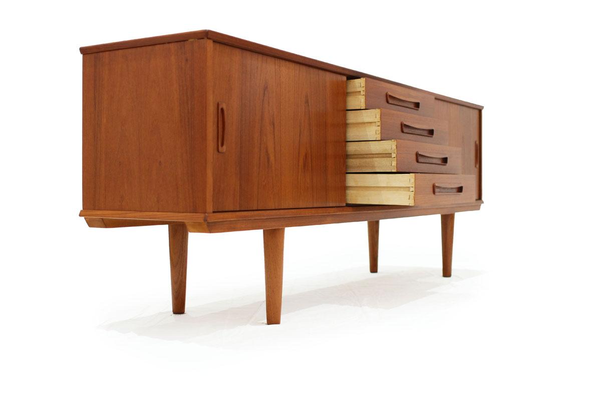 Danish Double Sided MCM Room Divider Teakwood 4 drawer 2 door Credenza Made in Denmark