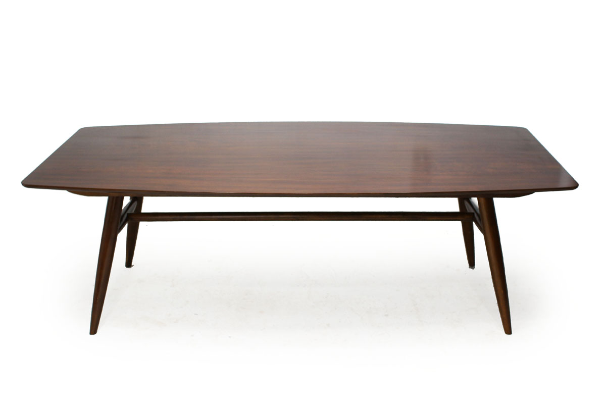 Large Mid-Century Modern Walnut Wood Surfboard Dining Table