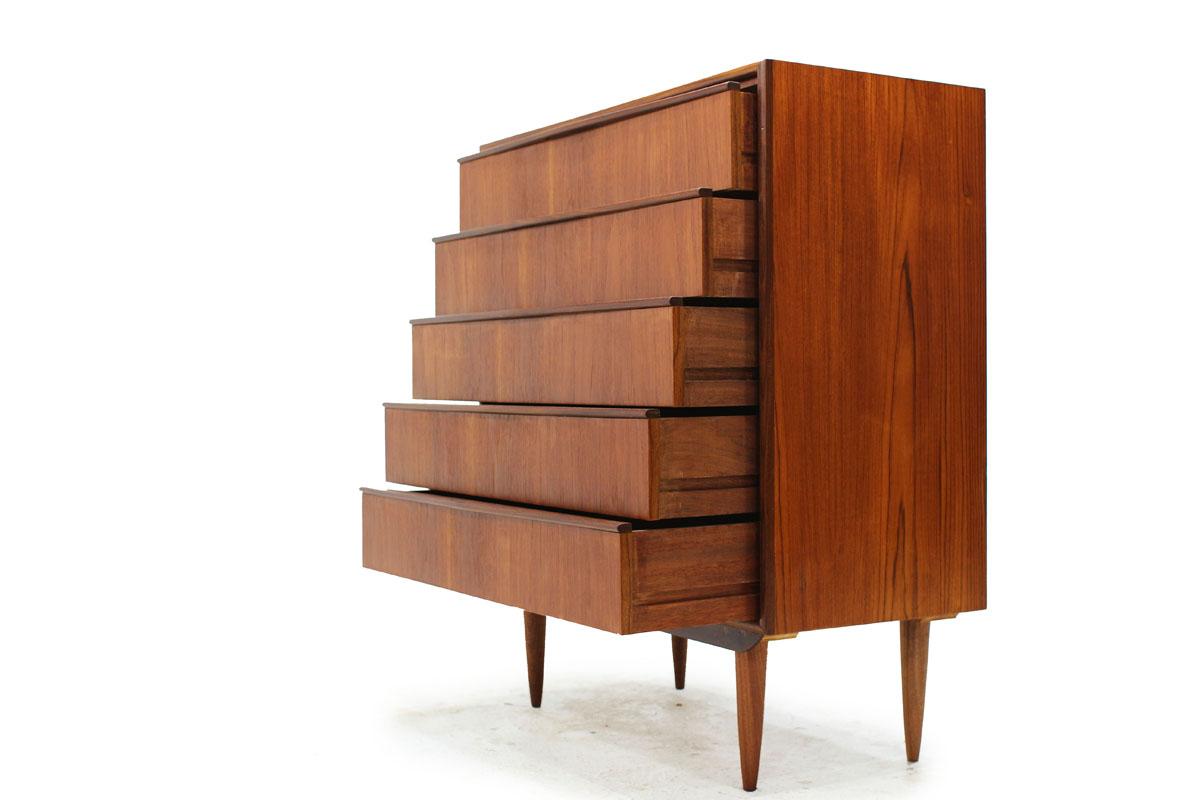 Scandinavian Mid Century Modern Teakwood 5 Drawer Tallboy Dresser