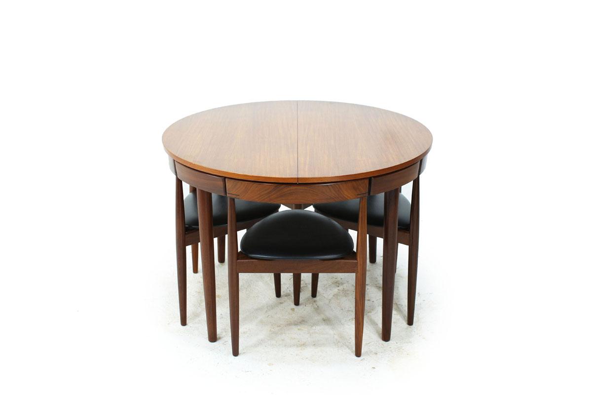 Danish Designer Hans Olsen Teakwood Mid Century Modern Nesting Dining Set with 6 Chairs with vinyl cushions