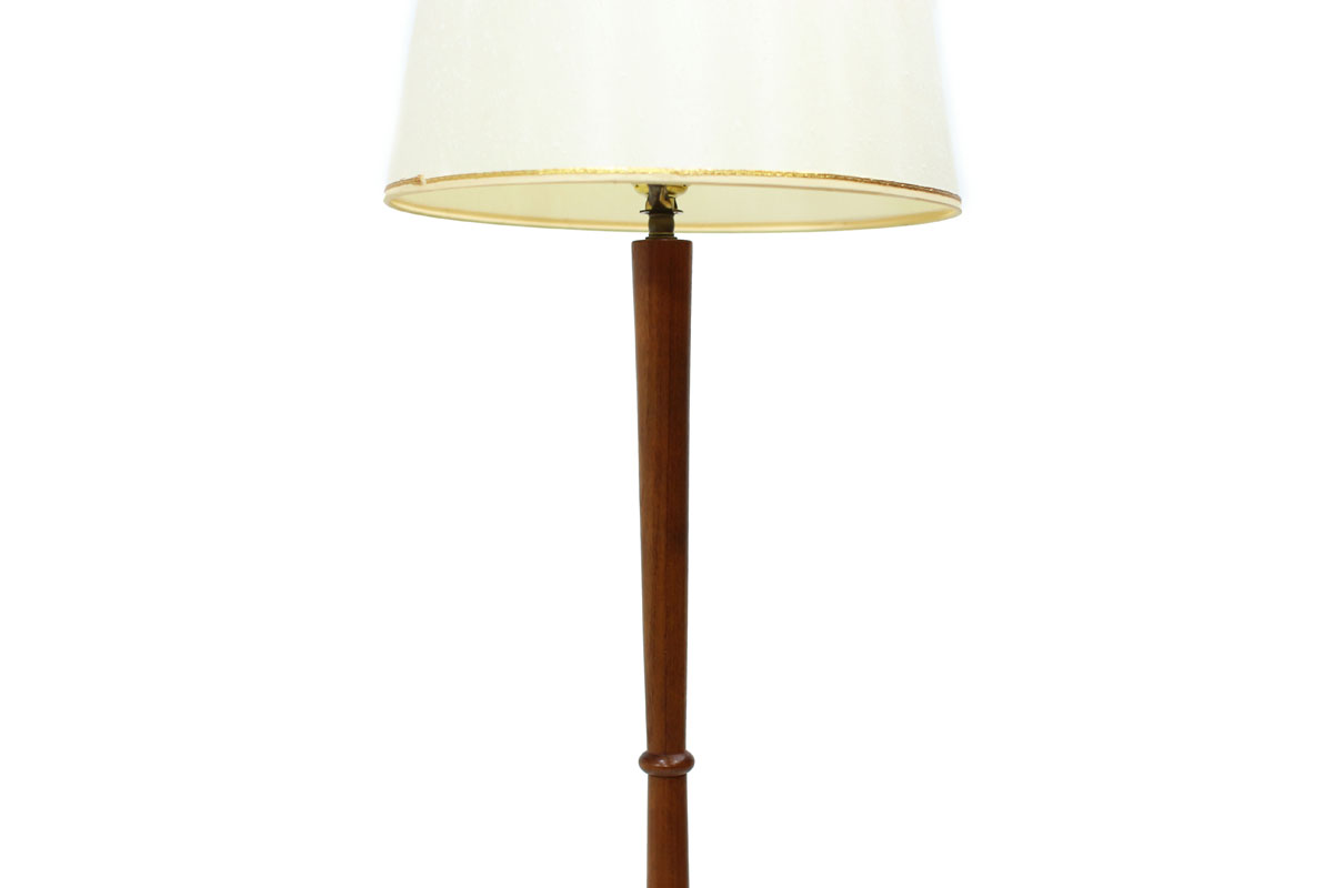 Teak Wood Mid Century Modern Floor Lamp with tripod legs