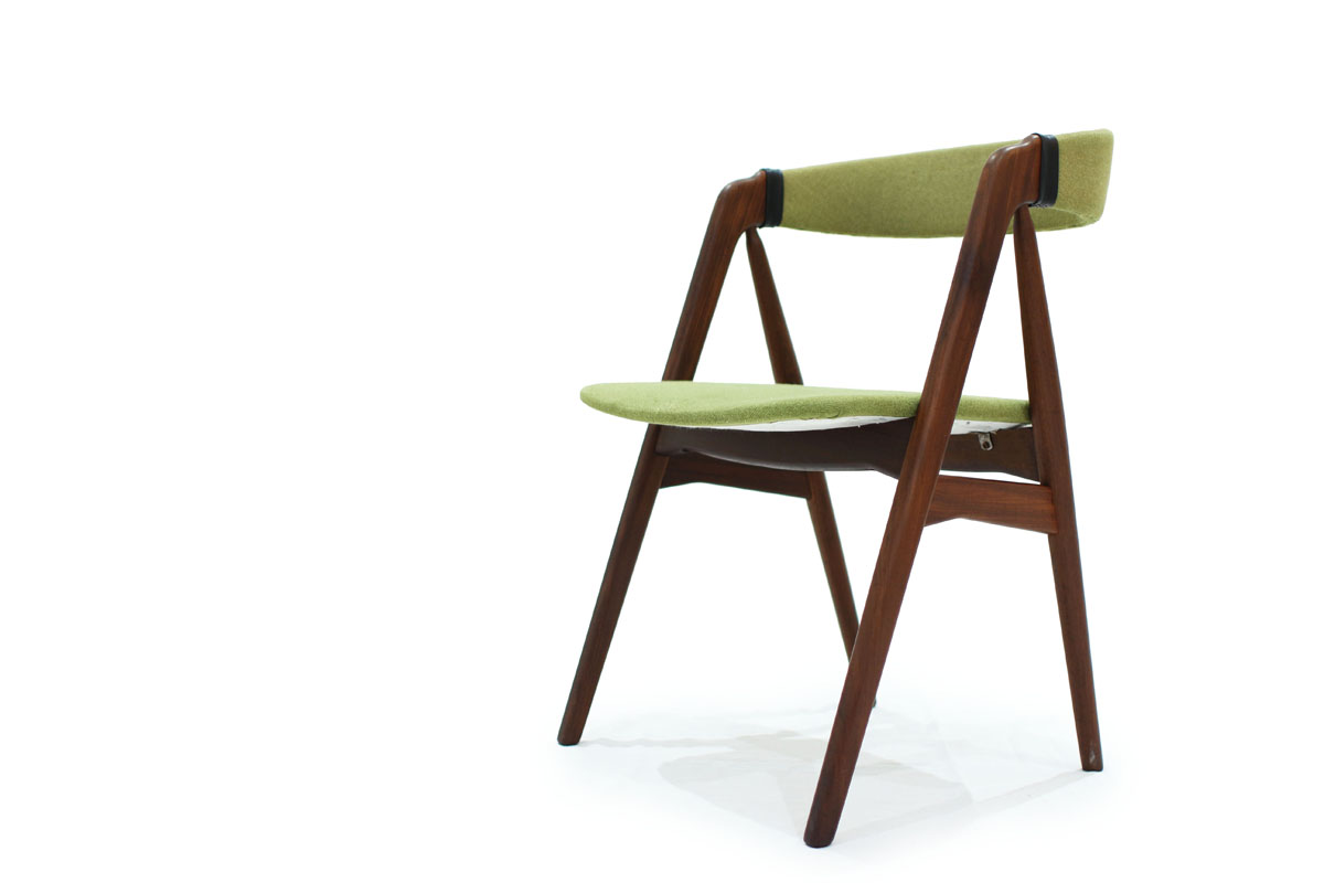 Single Mid Century Modern Teak Wood Designer Chair by TH Harlev with Green Fabric and Leather
