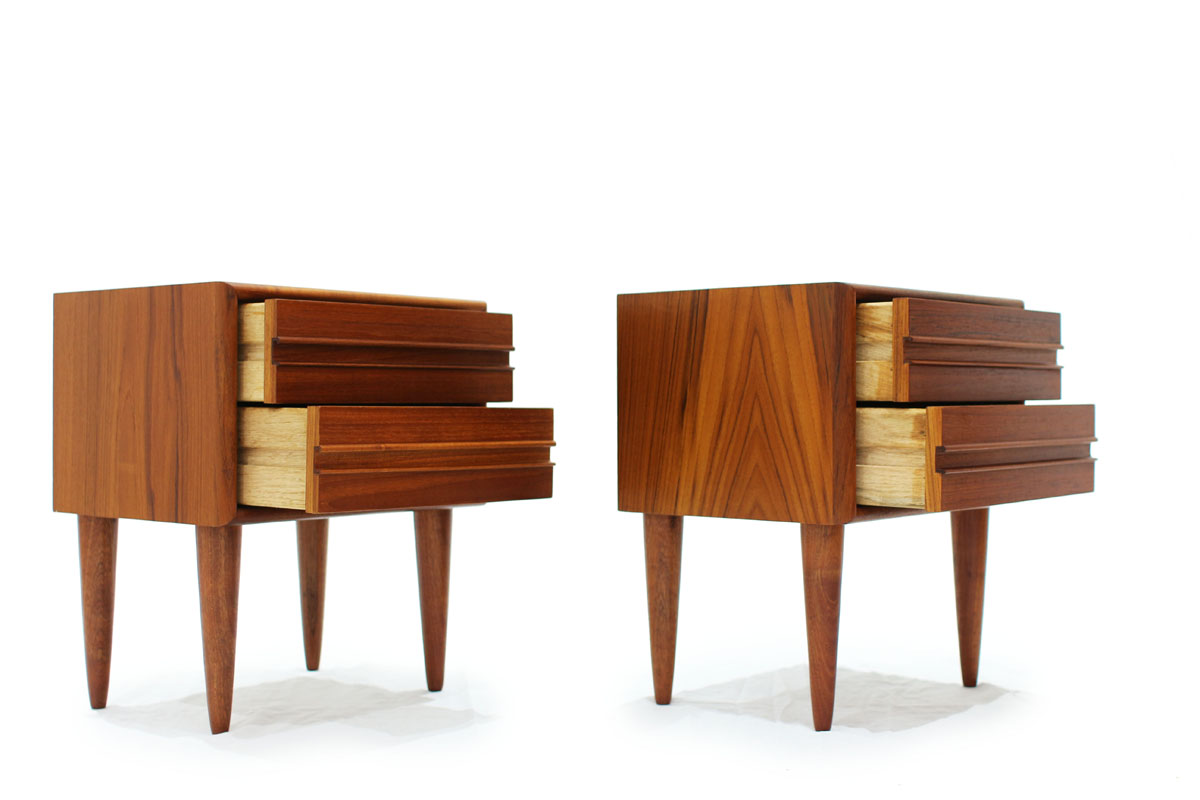 Set of Two Danish Mid Century Modern Teak Wood Night stands 2 Drawers