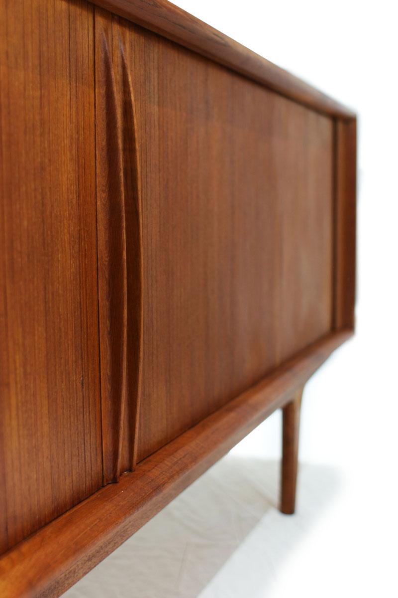 Danish Teak wood Tambour 2 Door MCM Sideboard / Credenza by Bernhard Pedersen & Son