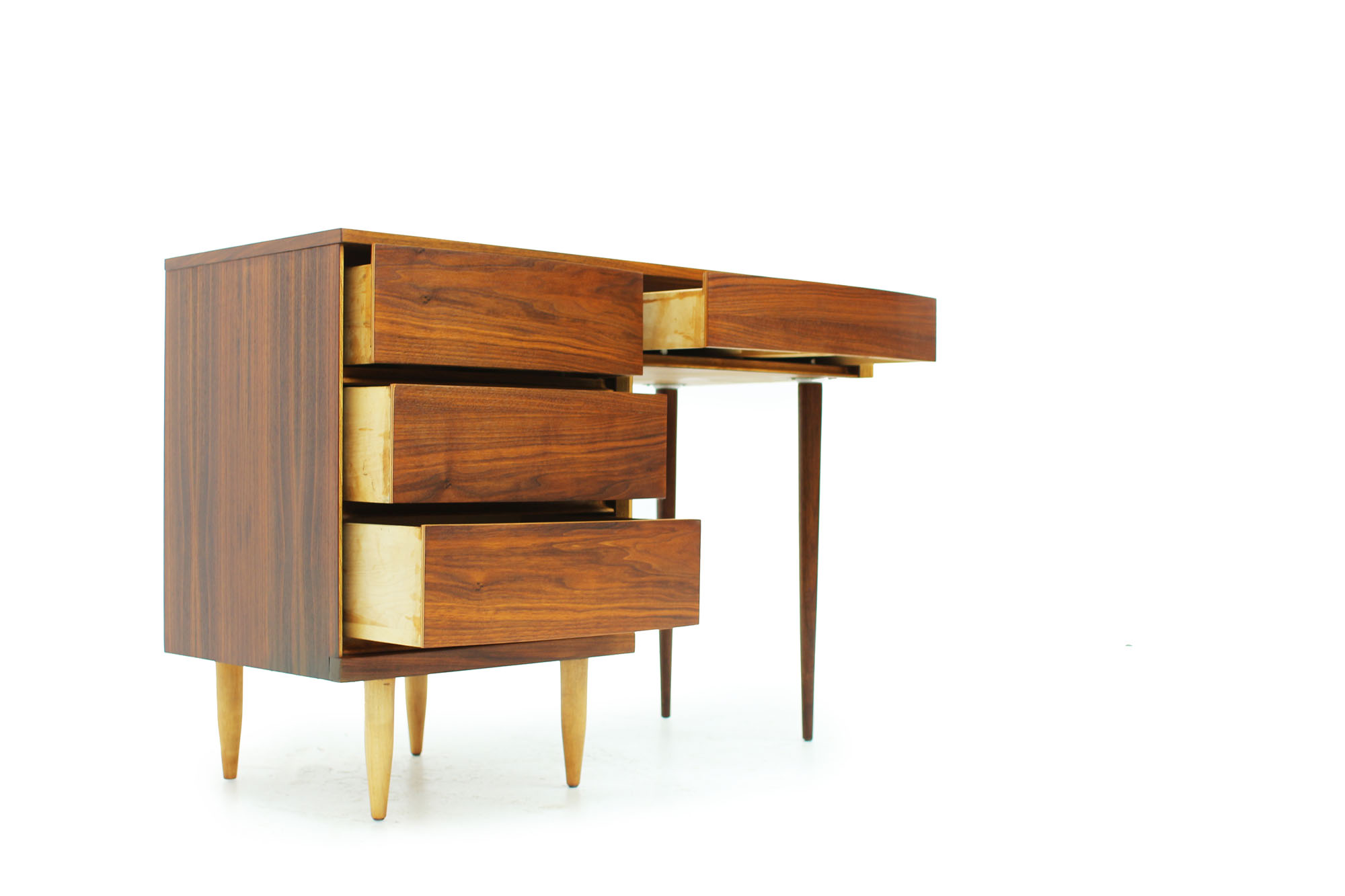 MCM Walnut Desk with Curved Drawers and long Legs (1).jpg