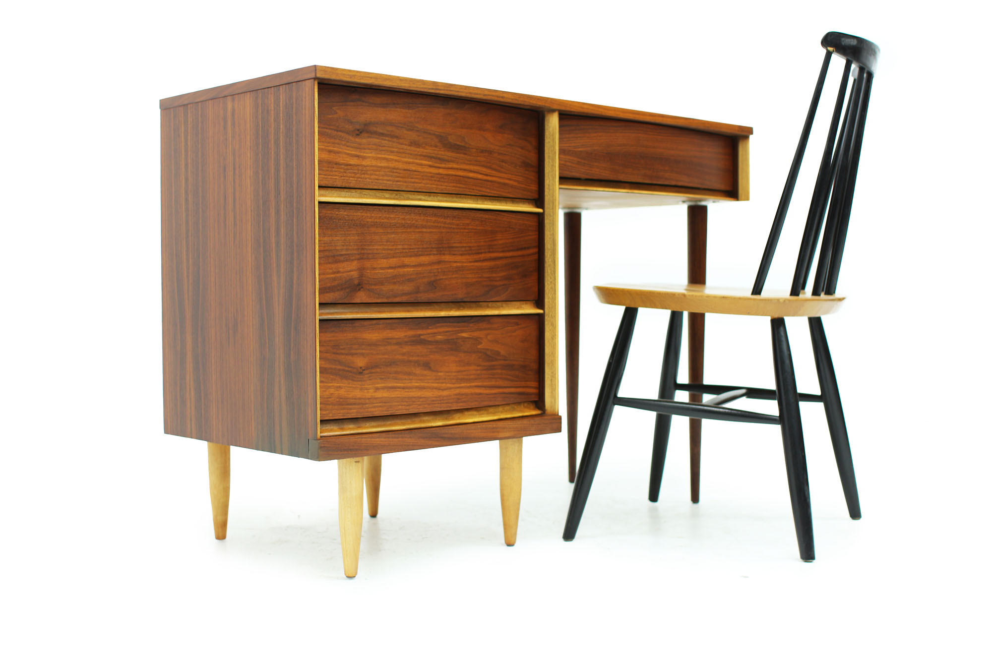 MCM Walnut Desk with Curved Drawers and long Legs (2).jpg