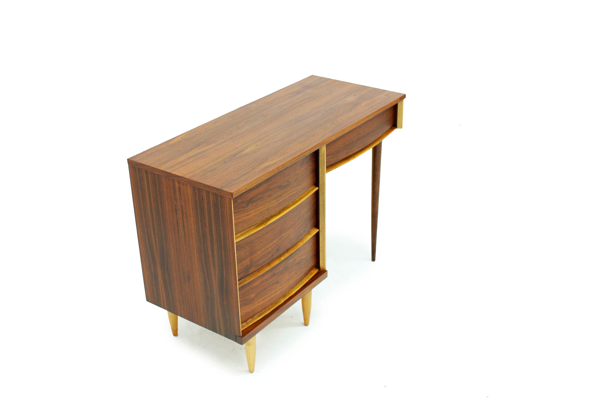 MCM Walnut Desk with Curved Drawers and long Legs (3).jpg