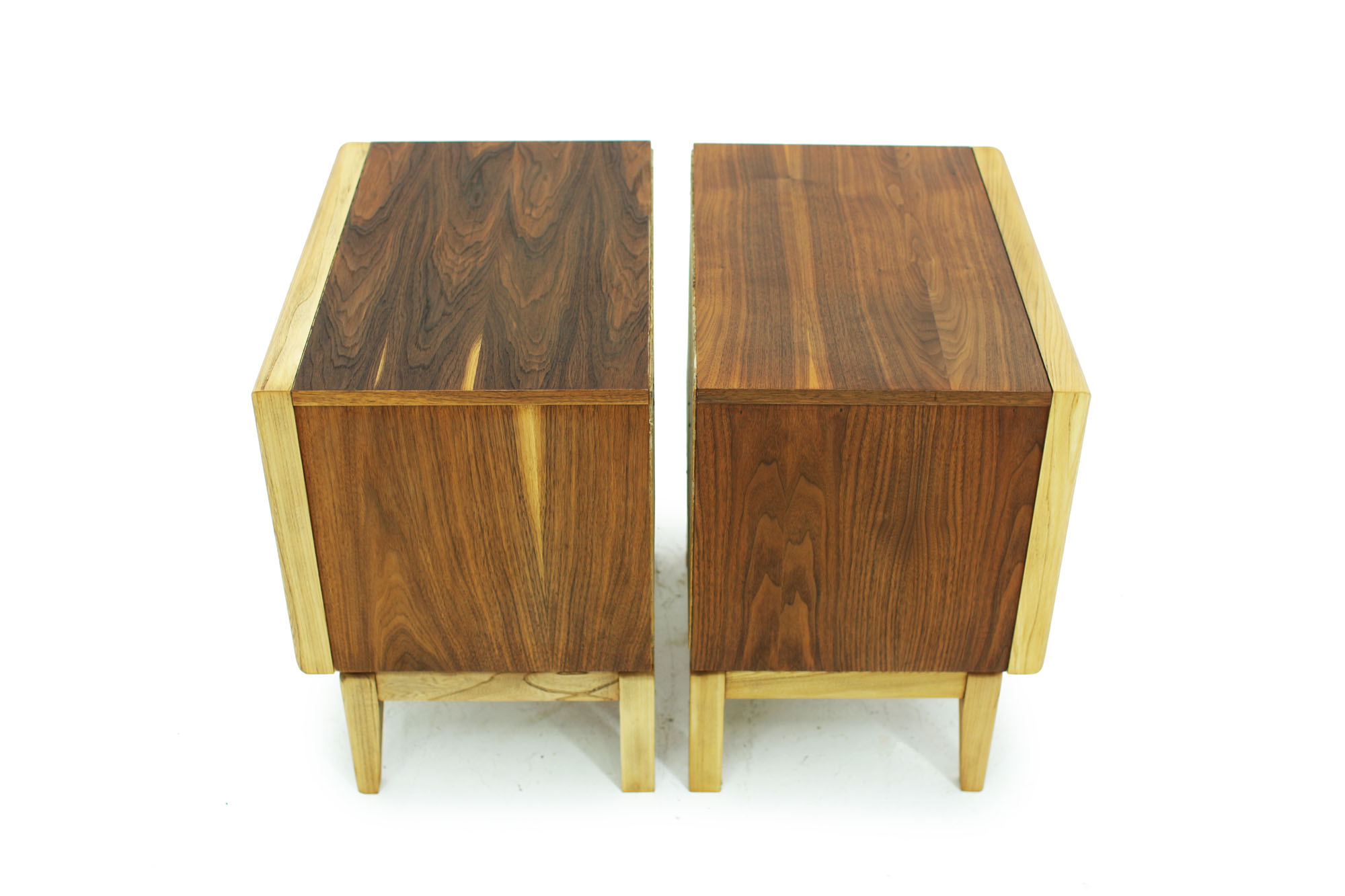 Pair of Walnut MCM Nightstands with diamond pattern drawers and two tone fronts fully refinished (1).jpg