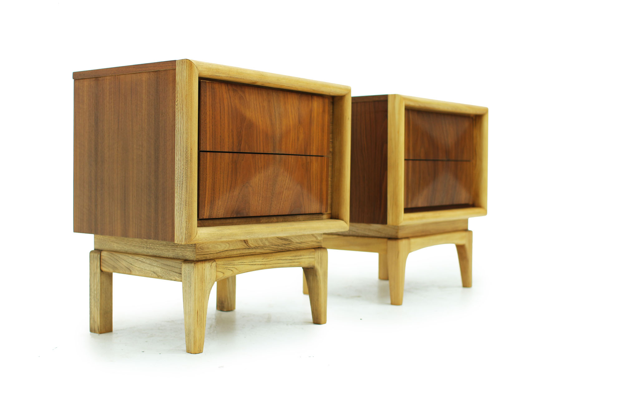 Pair of Walnut MCM Nightstands with diamond pattern drawers and two tone fronts fully refinished (4).jpg