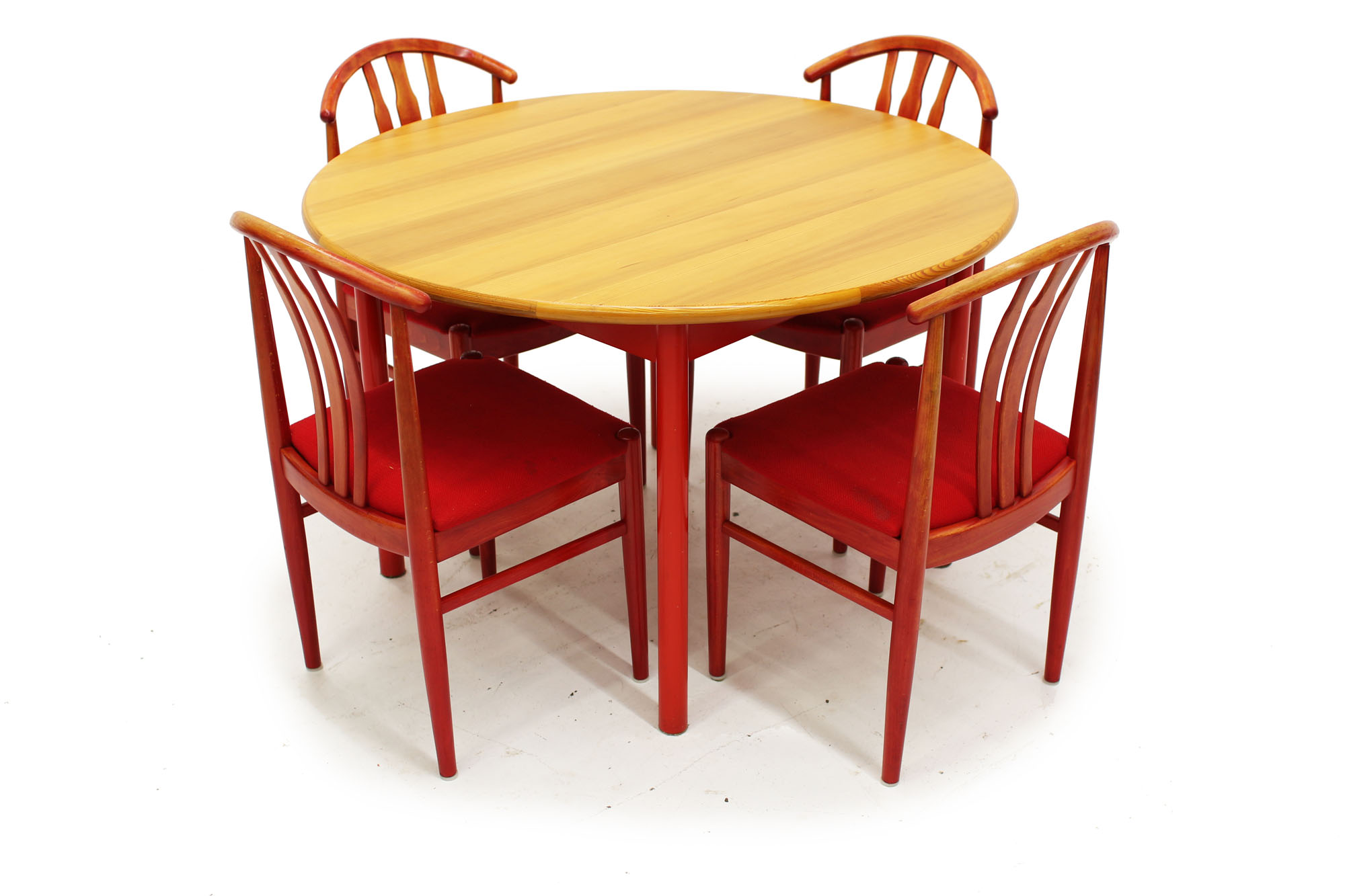 Swedish Made Dining Set with Red Fabric (7).jpg
