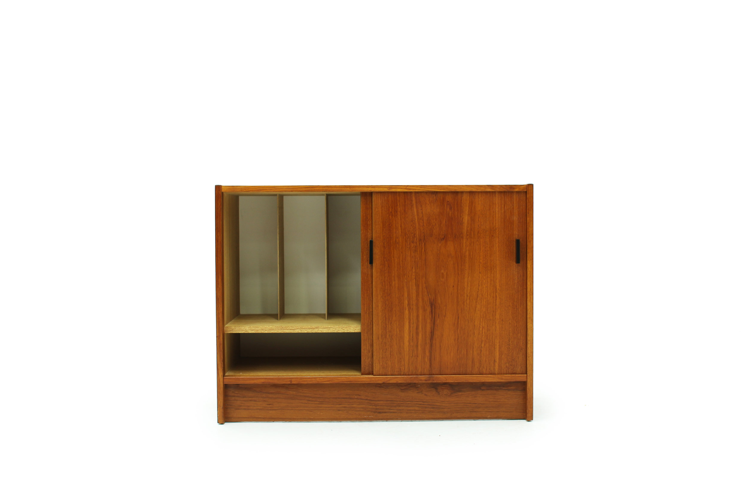 Mid Century Teak Record Cabinet with  Equipment Storage (4).jpg