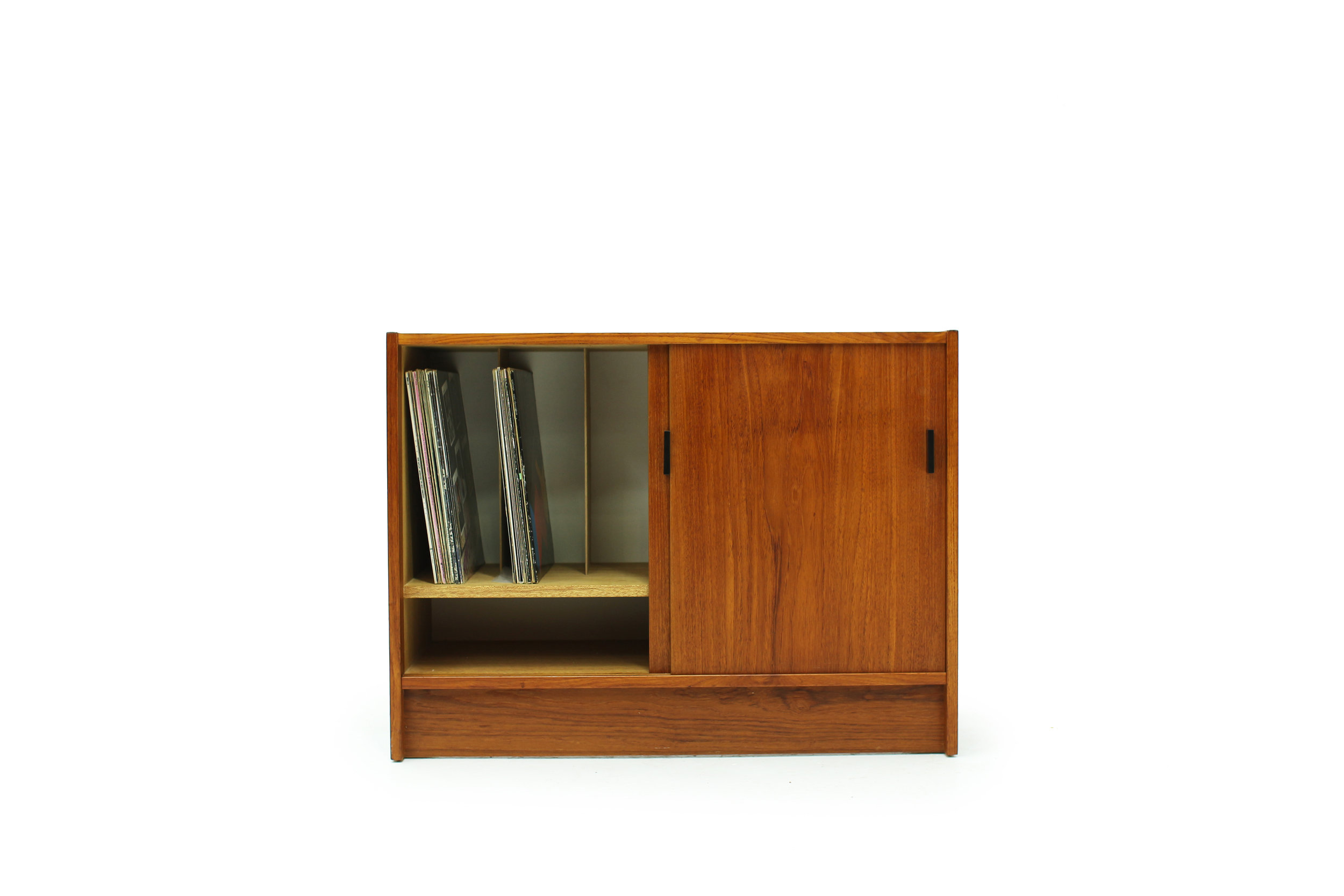 Mid Century Teak Record Cabinet with  Equipment Storage (5).jpg