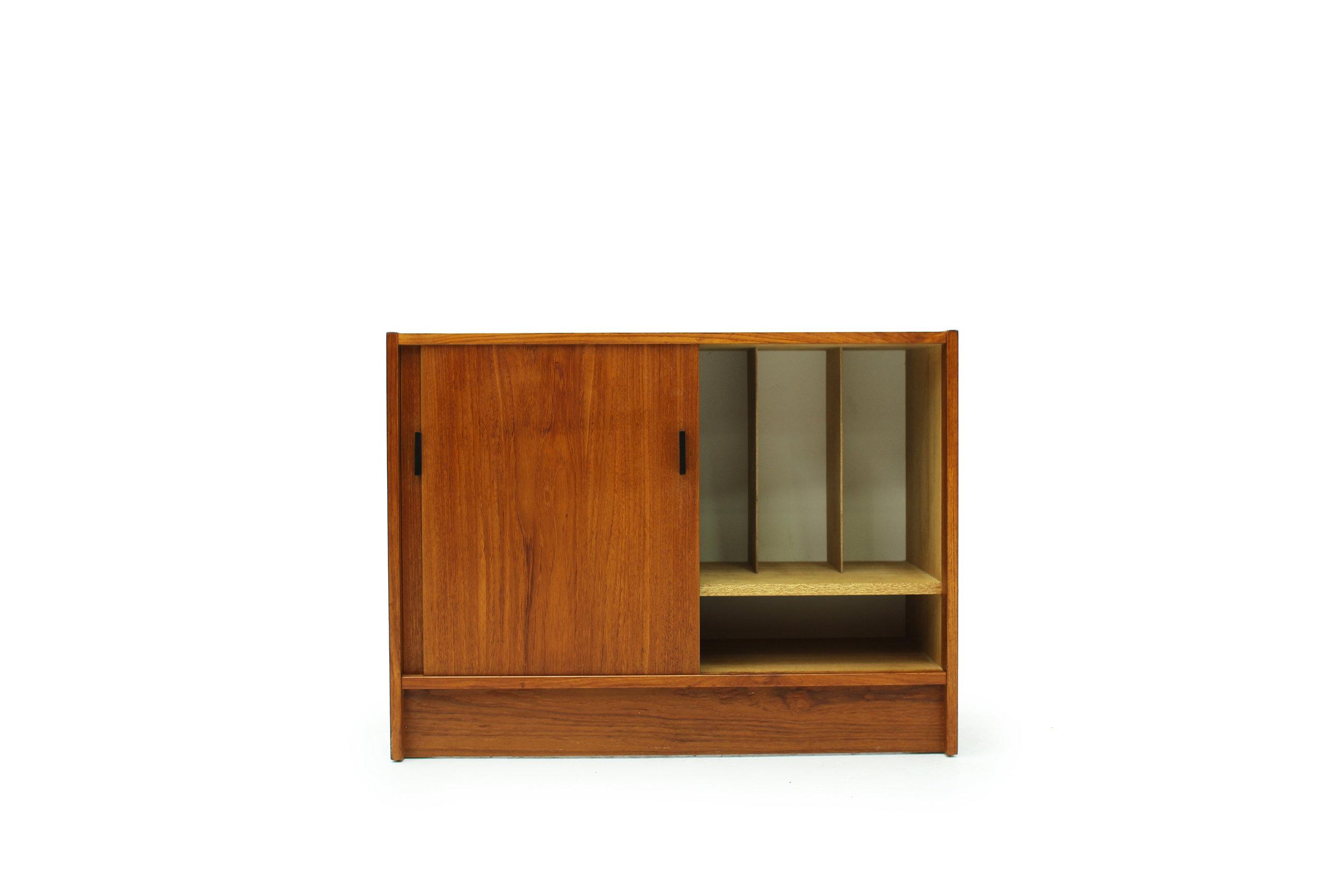 Mid Century Teak Record Cabinet with  Equipment Storage (6).jpg