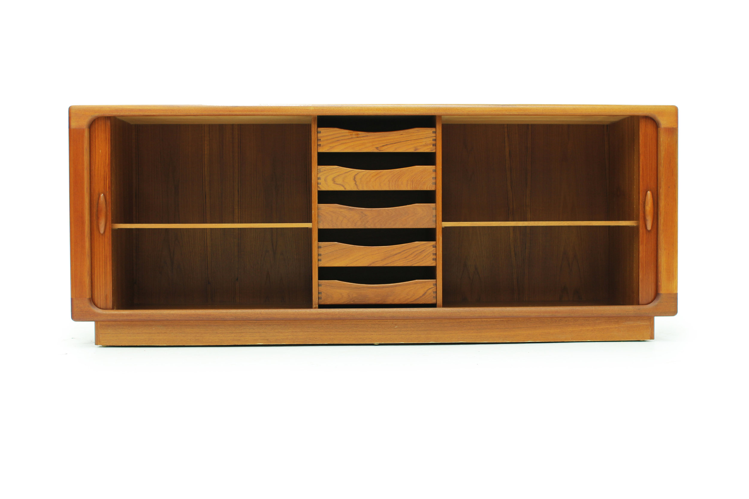Danish Teak Sideboard with Tambour Doors Made by Dyrlund (6).jpg