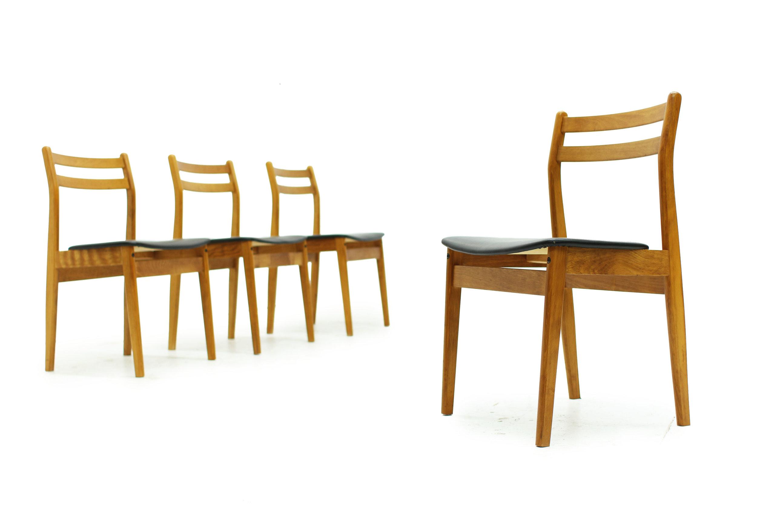 Mid Century Ladderback Dining Chairs - Set of Four (4).JPG