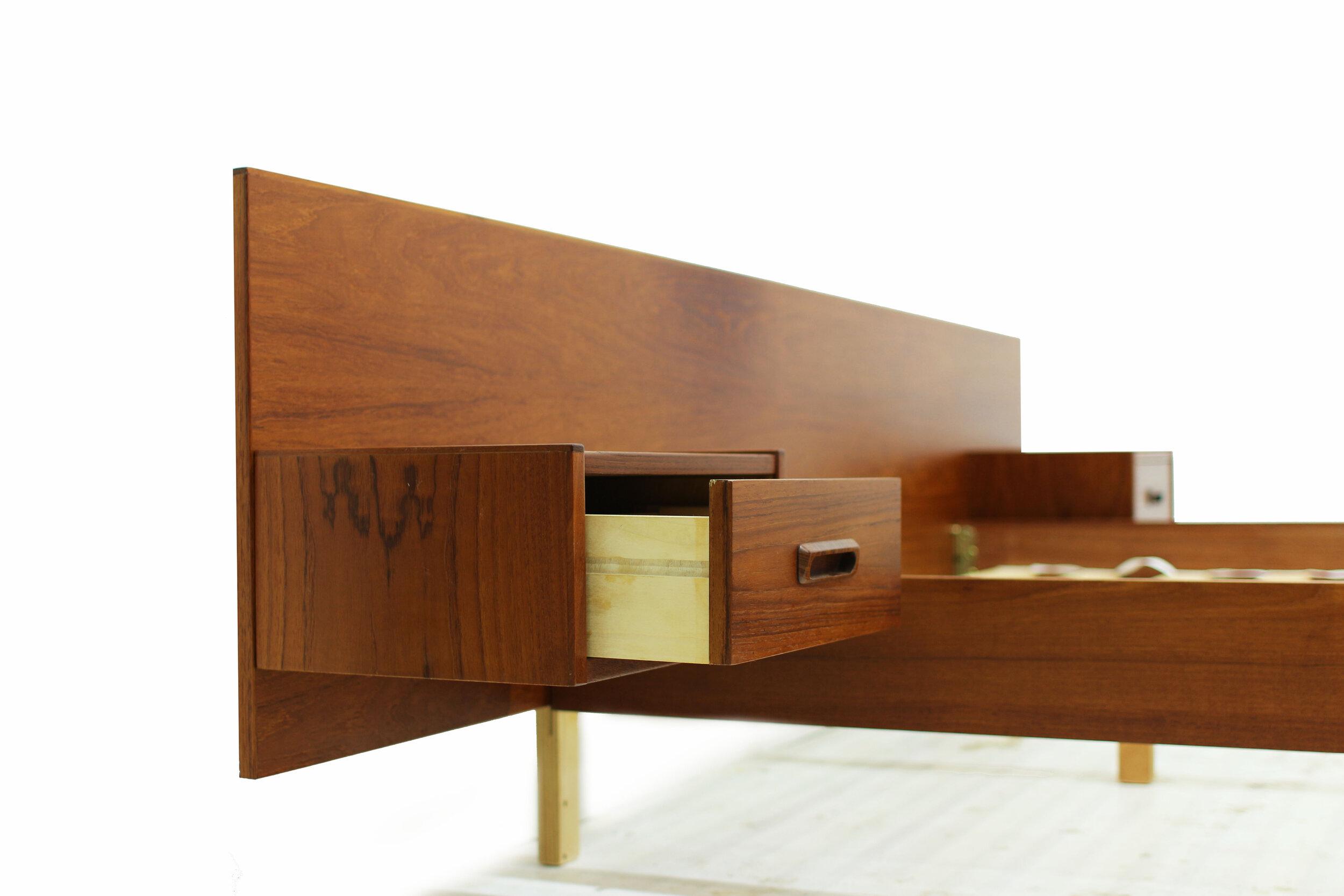Mid Century Teak Double Platform Bed with Attached Nightstands (1).jpg