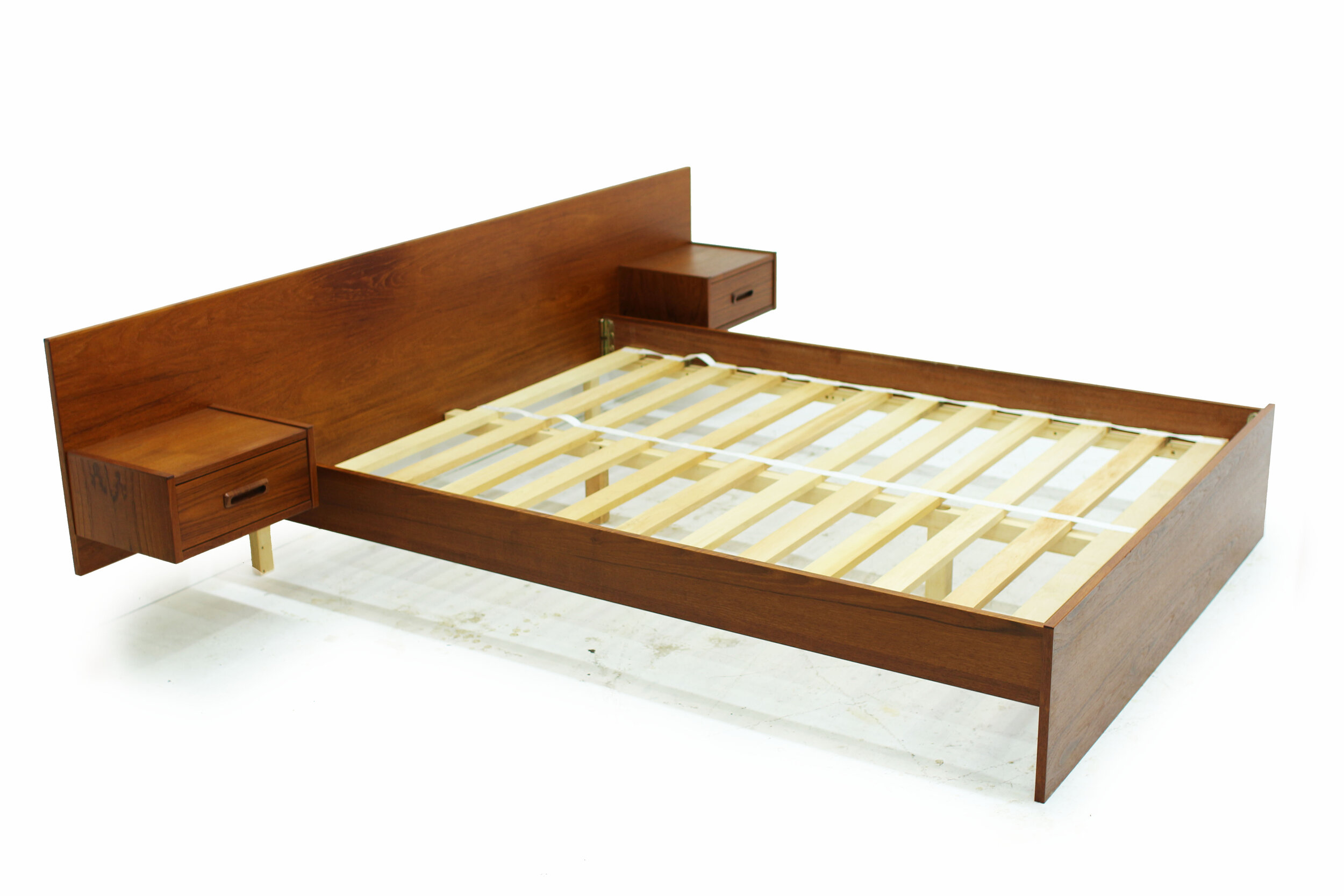 Mid Century Teak Double Platform Bed with Attached Nightstands (3).jpg