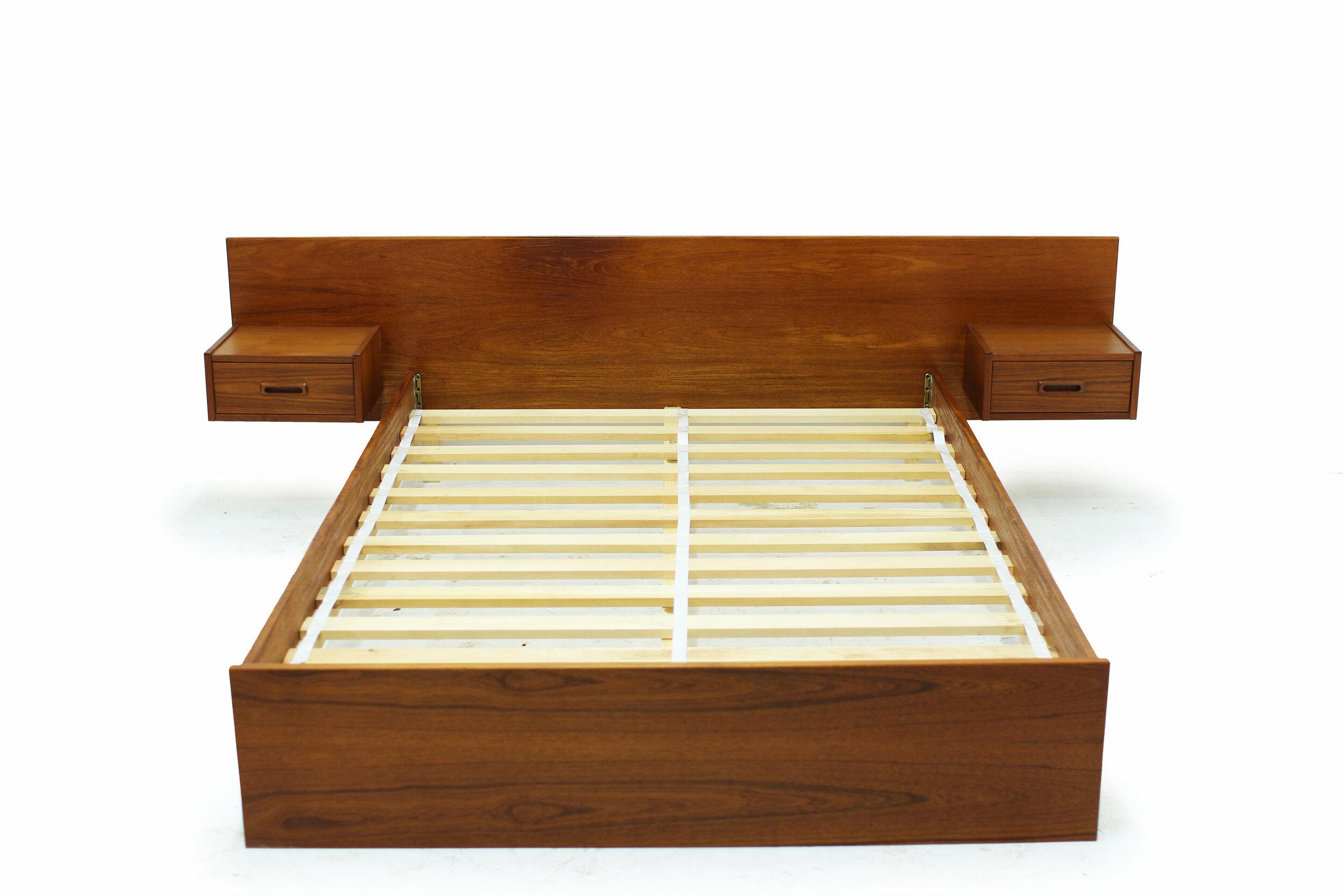 Mid Century Teak Double Platform Bed with Attached Nightstands (2).jpg