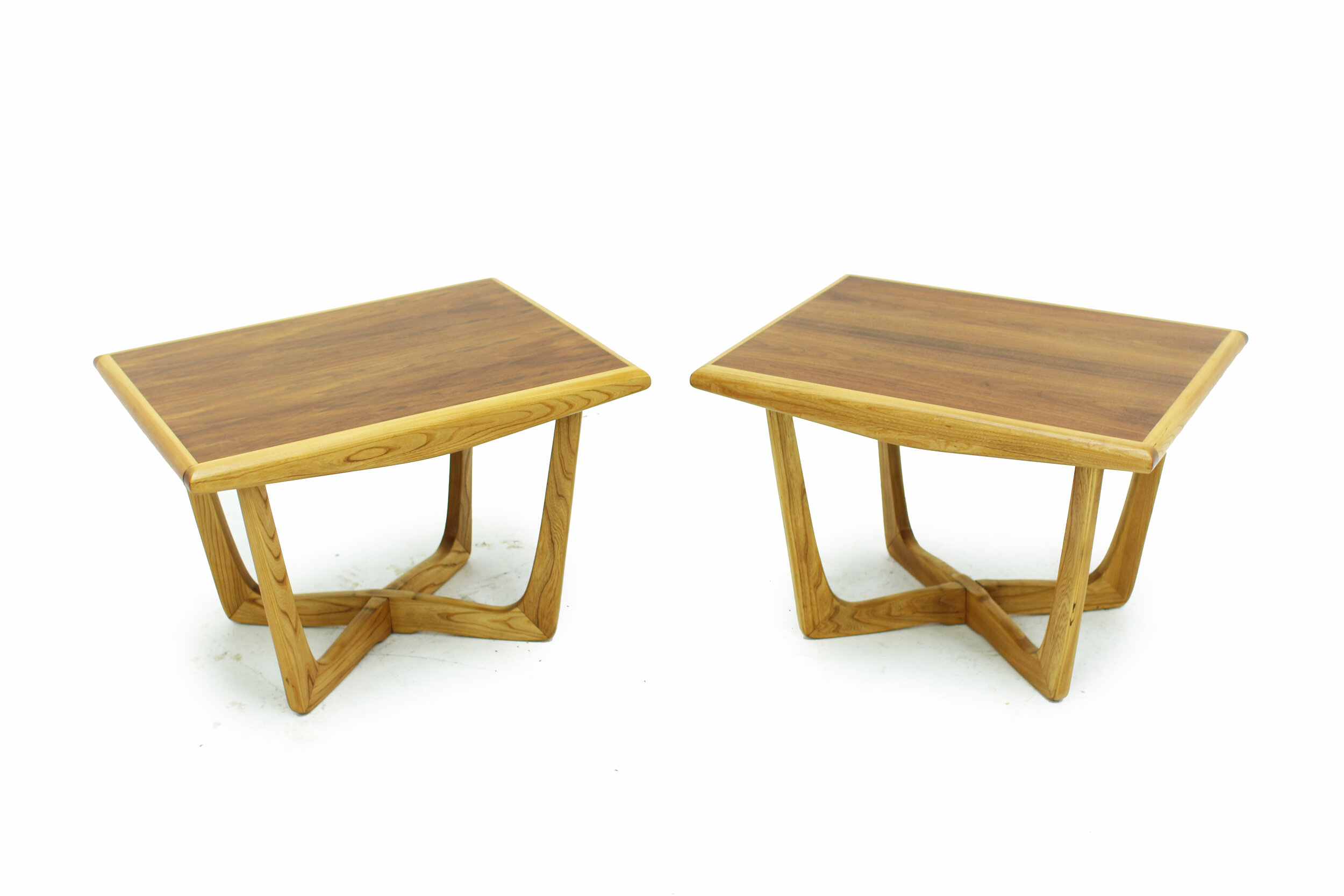 Mid Century Walnut and Ash Side Tables with Beautiful Bases.jpg