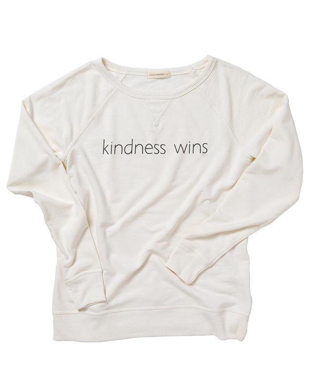 Yippee! At long last these #kindnesswins french terry beauties are available online. With a sleek profile and feminine neckline they are perfect for transition to fall... and they are flying off hangers up here in Maine! 🍂🍁#lingowares #frenchterry #fallshopping #mindfulness #meditatedaily #graphicsweatshirt #begoodtopeople #screenprinting #fallfashion #serendipitychestnuthill