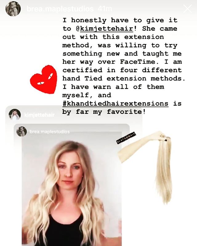 Thank you so much @brea.maplestudios for your kind words❤️🙏🏻 Some days we wonder: Am I good enough? Am I doing good work? Doubt can sneak up on all of us.... when days are long and hard, when life happens...we've all been there! But then it's all worthwhile after hearing such kind words like this...It really encouraged me to hear your excitement about #khandtiedextensions  For all the others out there that also need to hear you've got what it takes, you DO! 🙌👏🏼 I'm cheering YOU on👏🏼👏🏼👏🏼 . . . . #hairstylistsupportinghairstylists #hairextensionsclass #handtiedextensionsclassfl #godisformeandyou #youareenough♥️ #encourageeachothers #liftingeachothersup #supportingeachothersdreams #keepgoing #cherringyouon #wearechampions #blessedtobeblessing