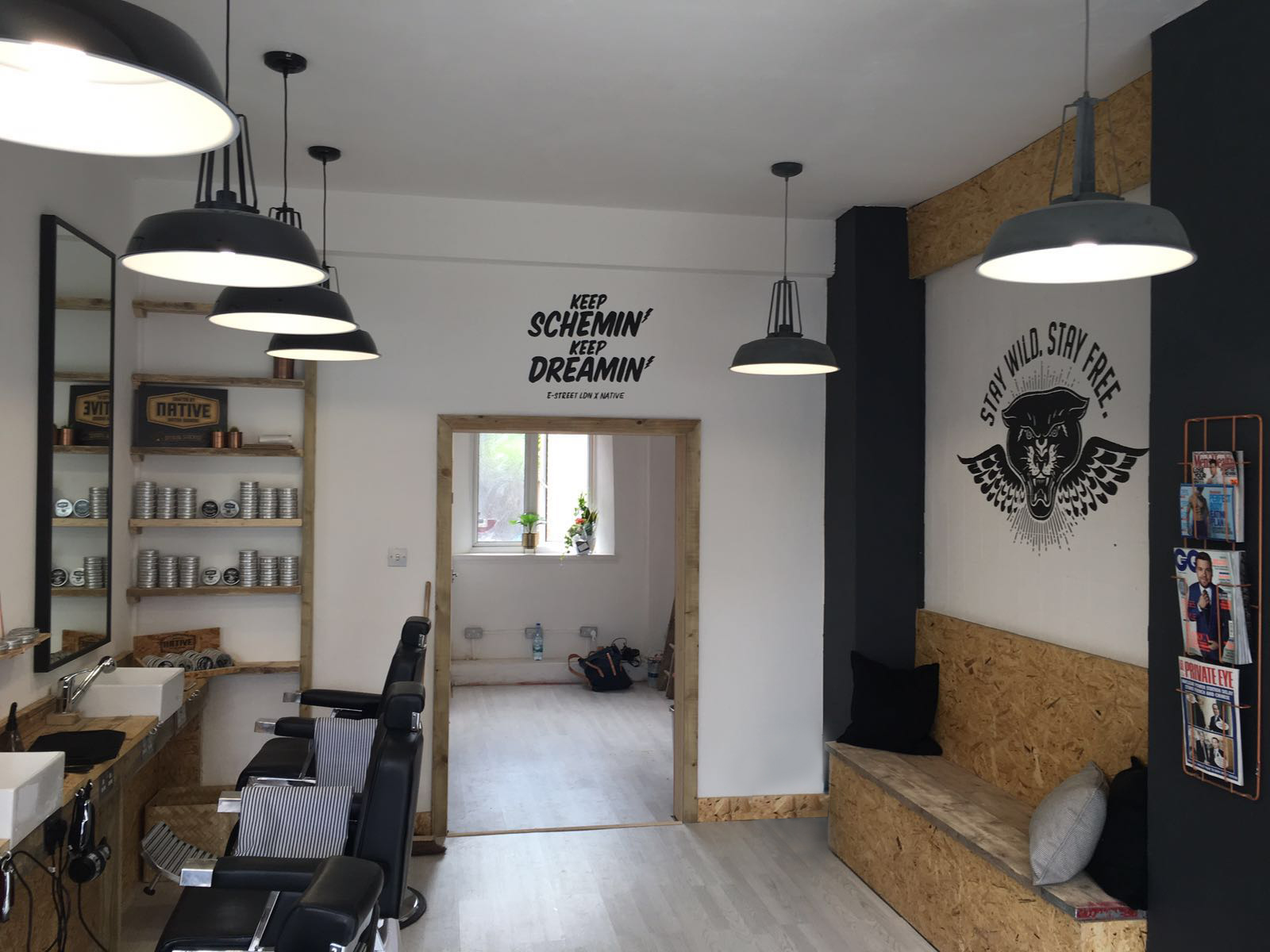 in store at e-street barbers hackney
