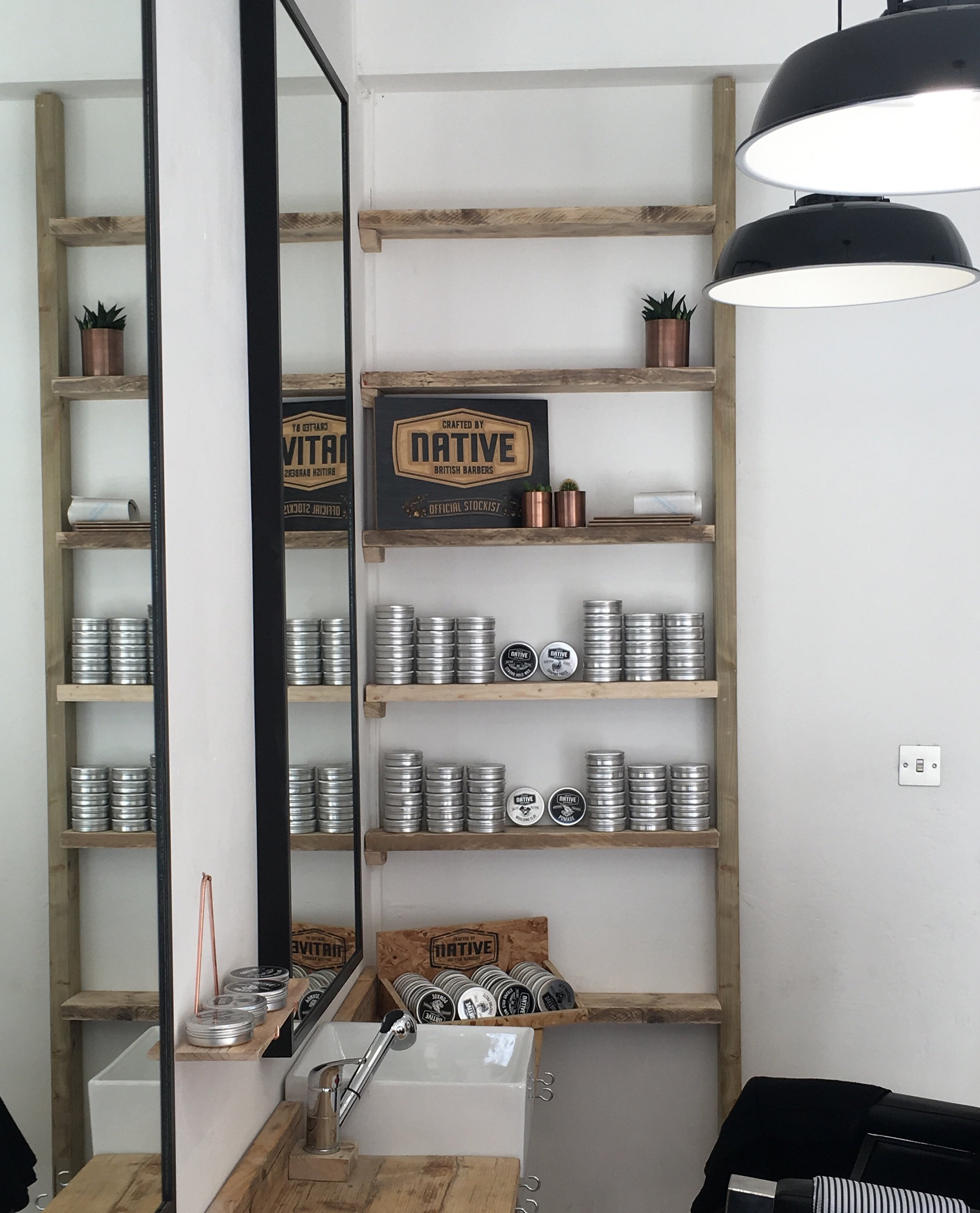 Native Products display at e-street barbers hackney