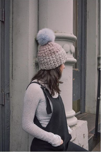 pewter + fawn deep beanie color block • baby blue xl pom