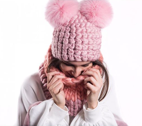 dusty rose mickey • baby pink xl poms