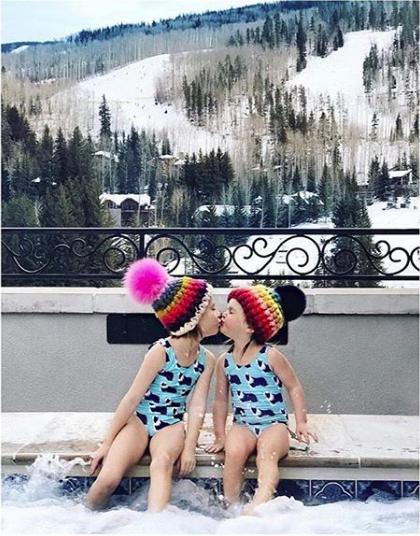 toddler pastel rainbow stripe beanie • magenta xl pom    toddler bright rainbow stripe beanie • black xl pom