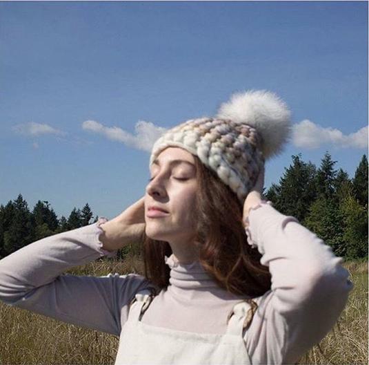 neutral stripe beanie • white xl pom