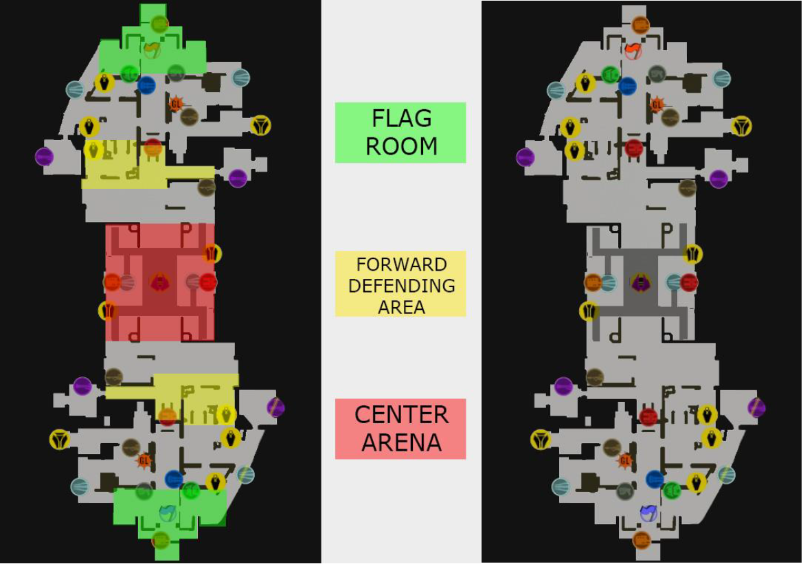 Figure 1: A general map/floorplan generated by UE4, leftmost illustration shows the three most important sections of the map. The rightmost illustration shows the map and the powerup locations.