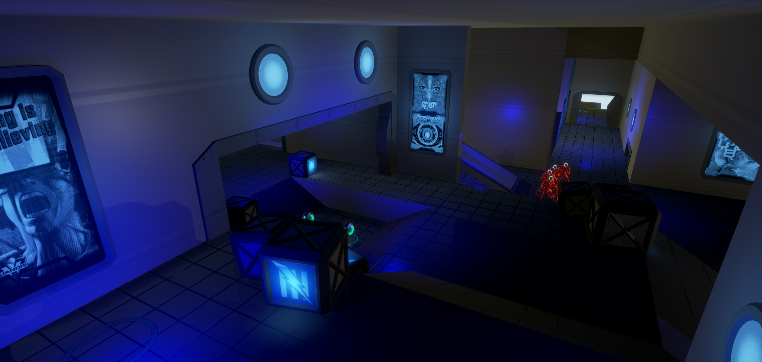 Figure 5: The forward defending area, imagined as a cargo bay. Exit to the center arena to the right and a passage leading further into Blue Base on the left, shock rifle outpost behind camera.